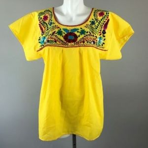 Tops - Vintage 70s Floral Oaxacan Blouse Mexican Boho Top